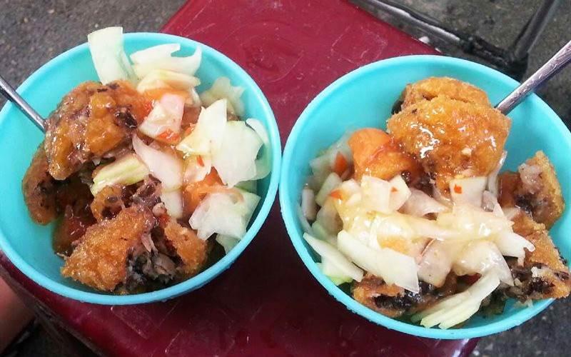 Ăn vặt Tây Hồ bánh rán mặn Võng Thị