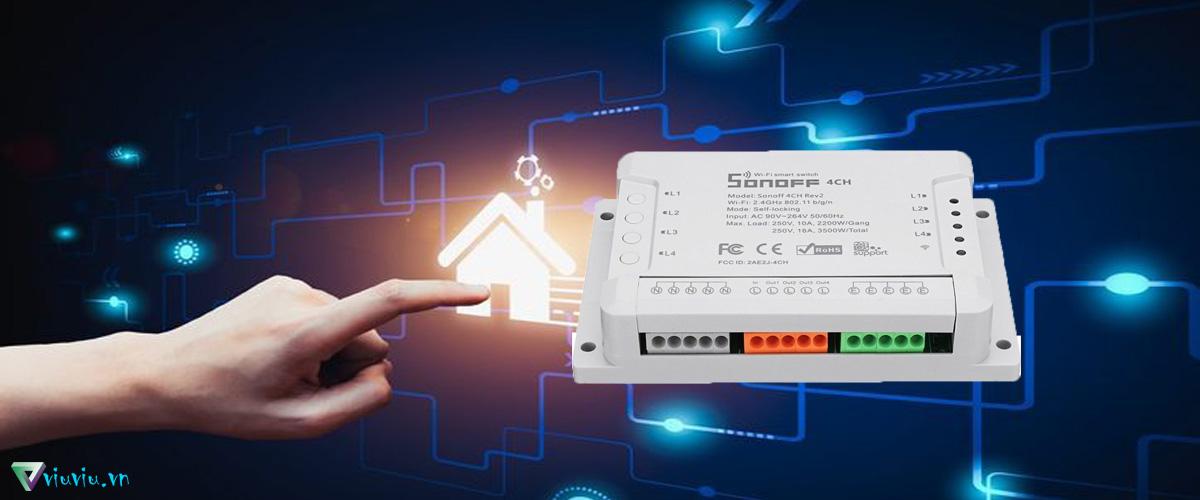 Công tắc đèn điện tử Sonoff 4CH R2