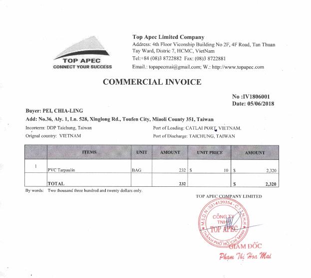 Hóa đơn Commercial invoice