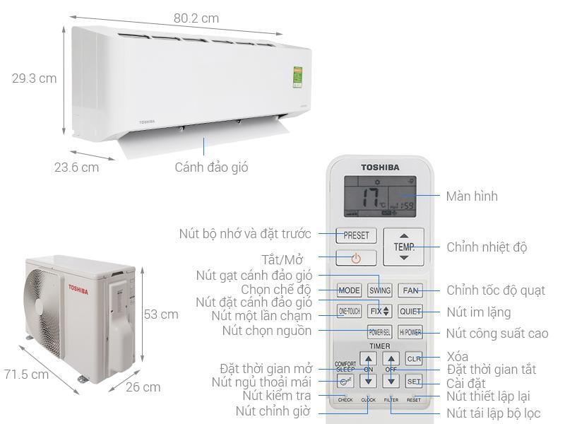 Toshiba Inverter 1 HP RAS-H10PKCVG-V
