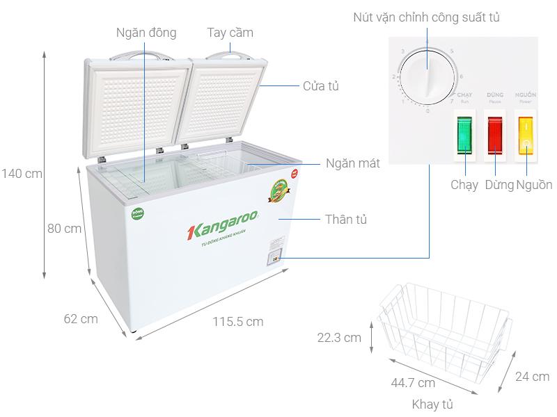 Tủ đông lạnh Kangaroo KG 400NC2