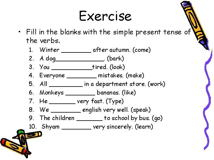 Ví dụ về dạng bài tập 1 của thì hiện tại đơn